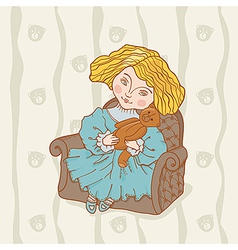 Girl sitting in chair with her teddy bear vector image