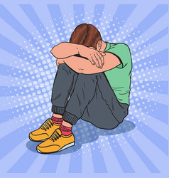 pop art depressed young man sitting on the floor vector image