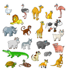 zoo animals birds and pets cartoon icons vector image vector image