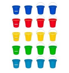 Blue plastic empty bucket with vector image