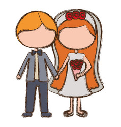 blurred colorful faceless cartoon couple in vector image vector image