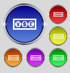 Cash currency icon sign Round symbol on bright vector image