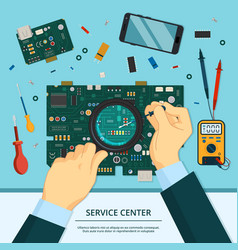 concept of technician service hands vector image vector image