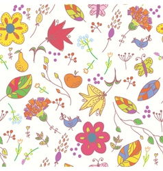Floral pastel seamless wallpaper with birds vector image vector image
