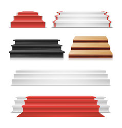 winner podium set red carpet wooden vector image