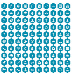100 church icons sapphirine violet vector image