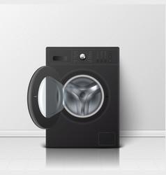 3d realistic modern black steel opened vector