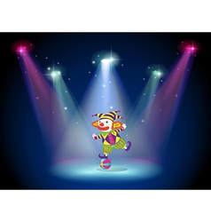 A clown dancing above the ball with spotlights vector image