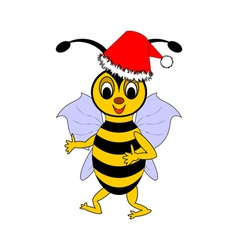 A funny Christmas cartoon bee vector