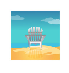 Adirondack chair on the sea beach standing on the vector