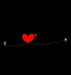 airplane flying gold dash line red heart loop vector image