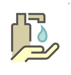 Alcohol gel and hands washing icon set design vector