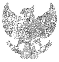 amazing indonesia culture in black and white vector image