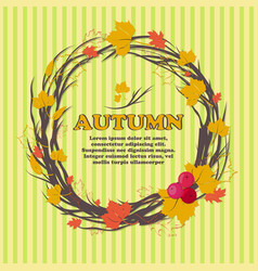 autumn bright background with yellow leaves and vector image