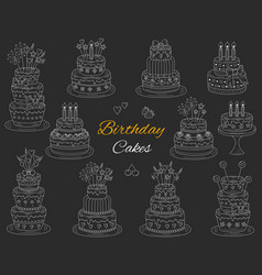 birthday cakes set hand drawn doodle vector image