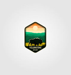 Bison on yellowstone national park logo vector