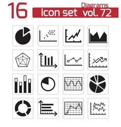 black diagrams icons set vector image