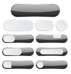 black interface buttons web icons vector image