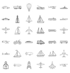 blimp icons set outline style vector image