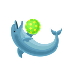 blue dolphin playing with ball vector image