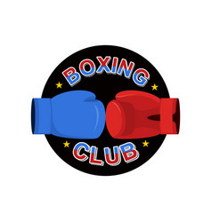 Boxing emblem gred and blue loves logo for sports vector
