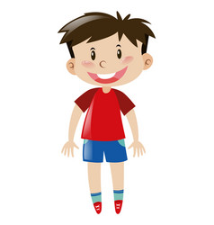 boy in red shirt smiling vector image