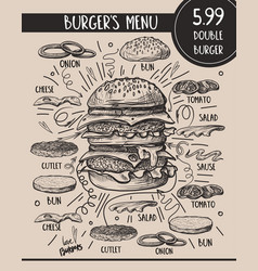 Burger menu with composition products in vector