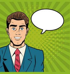 businessman with bubble pop art cartoon vector image