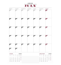 Calendar Planner Template for 2018 Year July vector image