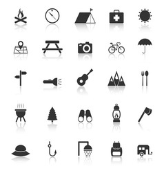 Camping icons with reflect on white background vector image