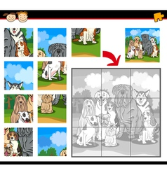 Cartoon dogs jigsaw puzzle game vector