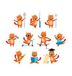 cartoon funny ginger cats activity set vector image