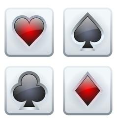 Casino square icon card suits vector image