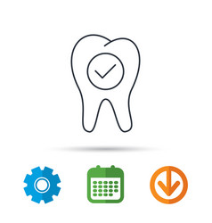 check tooth icon stomatology sign vector image