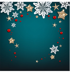 Chistmas blue frame vector