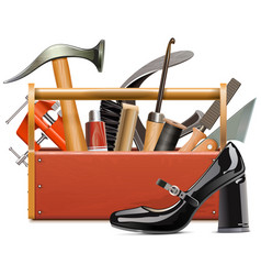 Cobbler toolbox with female black shoe vector