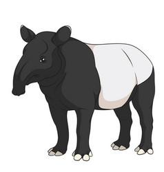 color a malayan black tapir vector image