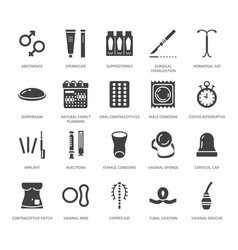 Contraceptive method flat glyph icons birth vector