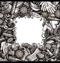 Coronavirus hand drawn doodles border vector
