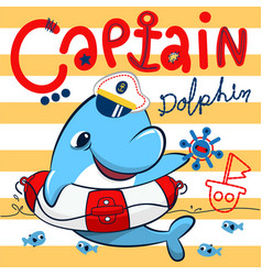 Cute dolphin captain with lifebuoy floating on sea vector