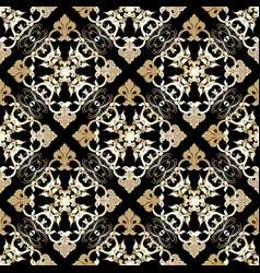 Damask seamless pattern gold baroque ornament vector