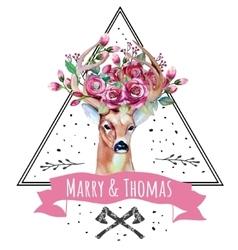 Deer watercolor Save the date eps 10 Wedding vector