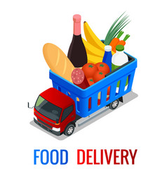 Delivery of fresh organic vegetables in wooden box vector