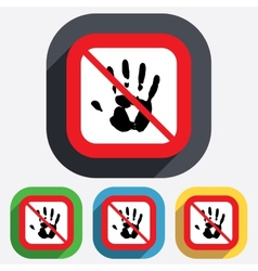 Do not touch Hand print sign icon Stop symbol vector