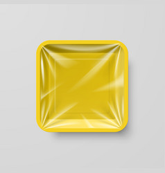 Empty yellow plastic food square container on gray vector