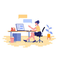 Female character work as technical support vector
