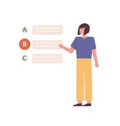 female student passing test and choosing wrong vector image