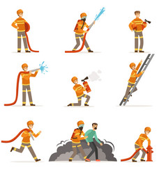 firemen characters doing their job and saving vector image