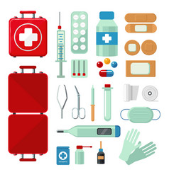 first aid kit set with medical equipment flat vector image