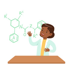girl chemist explaining skeletal chemical formula vector image